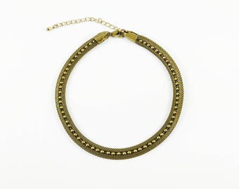Zoa - Vintage Brass Mesh and Ball Chain Choker Necklace