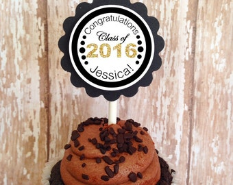 24 graduation cupcake toppers, black and gold graduation toppers, high school college graduation toppers, custom grad topper, set of 24