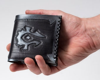 Minimal World of Warcraft Leather wallet-For The Horde-WOW-Geekery-tooled leather wallet-GEEK leather wallet