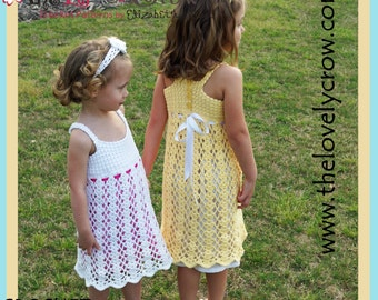 Girls Dress Crochet Pattern BELLA LENA DRESS