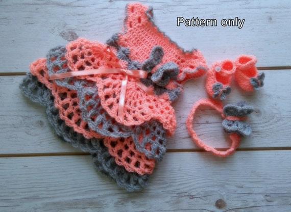 crochet pattern, Baby dress Pattern, Crochet shoes, Crochet headband ...