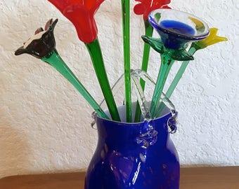 Vintage Cobalt Blue Metallic Gold Hand Blown Art Glass Purse Vase Handbag