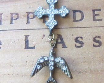Rhinestone Bird and Cross Necklace