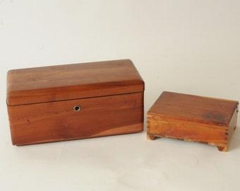 Pair Hinged Cedar Wood Boxes