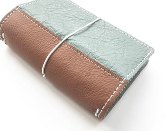 Leather Travelers Notebook - 6 Sizes - Genuine Leather - TN -   Grey with Brown Reinforced Spine