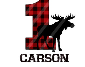 Lumberjack Moose Birthday Number Personalized Digital Download for iron-ons, heat transfer, Scrapbooking, Cards, Tags, DIY, YOU PRINT
