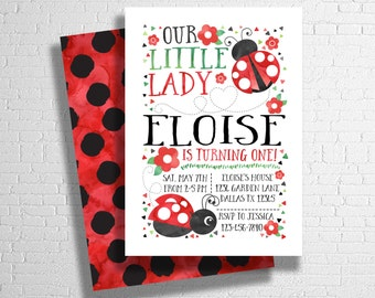 Lady bug invitation| Ladybug invite| Our little lady birthday invitation | Polkadot invitation| red & black theme |  DIGITAL FILE ONLY