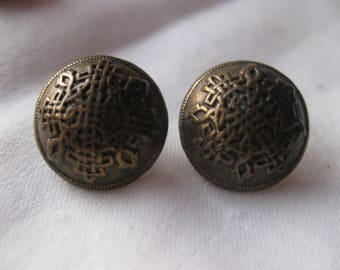 Pair Brass Buttons with Asian  knot design