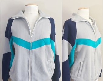 Vintage 80's Galaxie II Gray and Blue  Fleece Sweatshirt Track Jacket Size Large // Vintage Track Jacket, Sweatshirt