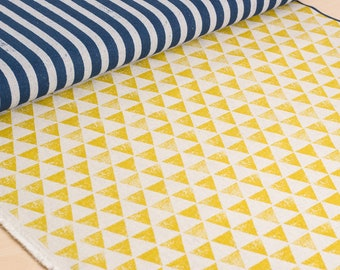 Echino | Japanese fabric - stripes and triangles in yellow and blue - 1/2 YD