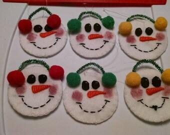 "4"" handmade felt snowmen face ornaments"