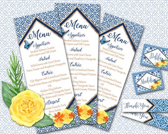 Chinoiserie Bridal Shower Menu - Favor Tag - Place Card Collection - PRINTABLE FILE