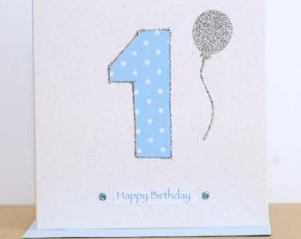 Birthday number age card - 1st Birthday card - First birthday card