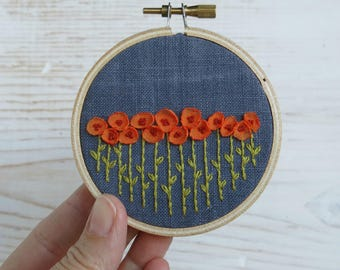 Orange Poppy Embroidery Hoop Art