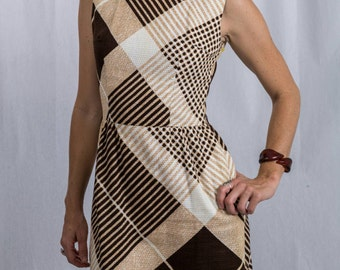 Vintage Dead Stock 70s MOD Sheath (Bleeker Street) Dress with Earth Tones with Tags