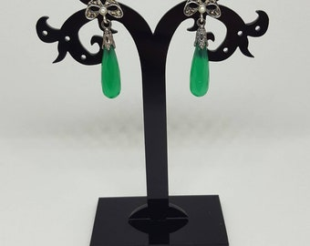 Art Deco Grünachat Earrings drops/Briolette with marcasite in 925 sterling silver