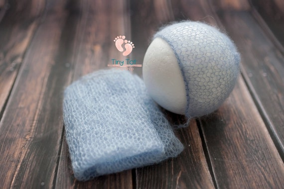 Powder Blue Mohair Bonnet + Wrap