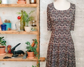 Marion - black floral babydoll dress with short sleeves - Liberty Print dress - knee length dress - casual dress - Liberty of London dress