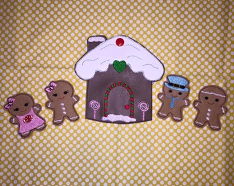 Gingerbread Finger Puppet Set ITH Embroidery Toys