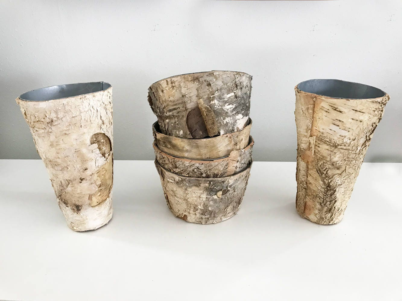 SALE HALF OFF Birch Bark Vase and Pot Wood Wrapped Planters my have ...