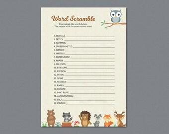 Word Scramble Game Printable, Woodland Baby Shower Games, Forest Animals Theme, Fox, Deer, Bear, Owl, Rabbit, Lion, Birch Tree,  B009