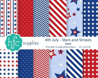 4th of July Stars and Stripes Digital Scrapbooking Papers - USA, patriotic red, white & blue, printable patterns - Instant Download SP072