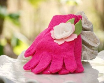 Fuschia Hot Pink Knitted Gloves Ivory Lime Flower White Pearl. Warm Hands, Bright Colorful Birthday, Toddler Preteen Christmas Girl Fun Gift