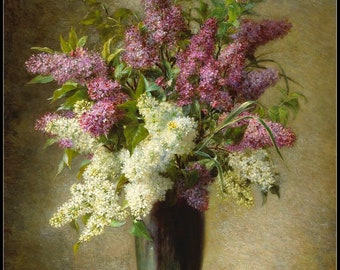 Counted Cross Stitch Patterns Needlework for embroidery - A Still Life with Lilacs in a Vase