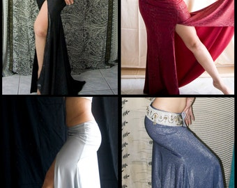 CUSTOM MADE Mermaid Skirt with slit - Your fabric 'n' colour choice - Tribal Fusion Bellydance Skirt, Fitted mermaid skirt