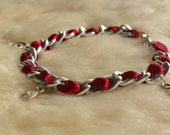 Handmade Ribbon & Chain Charm Bracelet