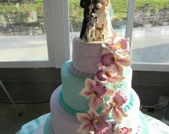 Custom Bride Groom with Pet  Wedding Cake Topper,Custom wedding cake topper, personalized cake topper, Mr and Mrs cake topper