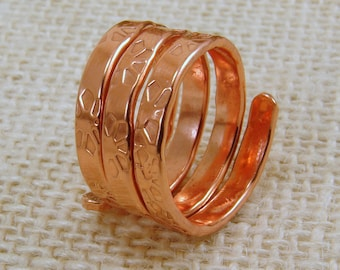 Hand Textured Copper Ring - any size, hand stamped copper multi wrap ring, copper ring