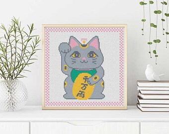PATTERN: Manekineko (pastel) cross stitch pattern, Lucky cat, Modern Cross Stitch Pattern, Cute Cross Stitch Pattern, Instant Download PDF
