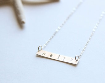 Salty Stamped Bar Necklace, Sterling Silver