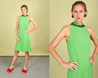 60s Apple Green Cocktail Dress Vintage Rhinestone Mod Halter Dress