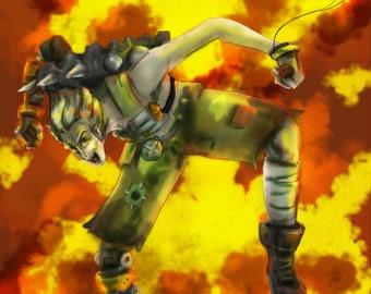 JunkRat Overwatch Video Game inspired Illustraiton Print