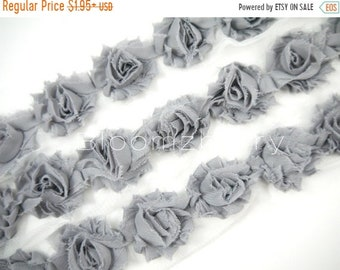 """ON SALE 20% OFF 1.5"""" Petite  Shabby Rose Trim -  Grey Color - Chiffon Trim -  Shabby Trim - Hair Accessories and Craft Supplies"""