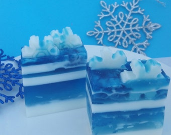 snowflake soap, Christmas soap, champagne snow, winter soap, blue and white soap