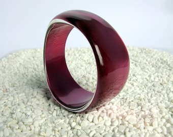70s / Lucite Bangle / MOD / MOON GLOW / Chunky Bangle Bracelet / Fuchsia / Purple / Plum / Statement Bangle / Irregular/ Asymmetrical / Mint