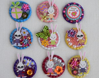 Three Dimensional Easter Pins (Brooches) or Refrigerator Magnets