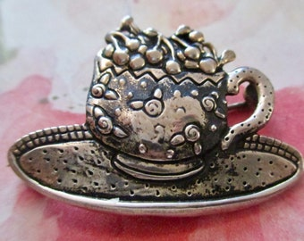 Vintage Mary Engelbriet Sterling Silver Tea Cup Brooch Pin 925 Marked