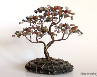 Gemstone Wire Bonsai Beaded Tree Sculpture - Custom Made to Order