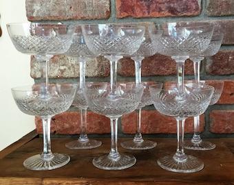 Set-12 St. Louis Crystal Champagne Sherbet SIGNED Vintage