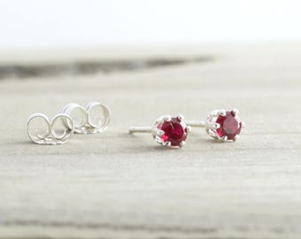 Tiny January Birthstone Stud Earrings Red Garnet Earrings Dainty Stud Earrings January Birthday Garnet Stud Earrings Birthstone Jewelry Gift