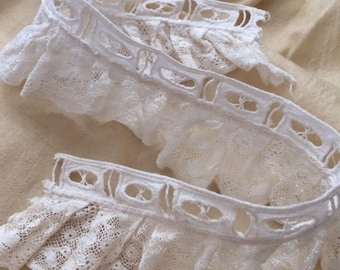 Antique Doll Lace Trim Beading Salvage Ruffles Doll Prim Costumes Fragment A42