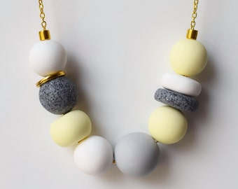 Chunky bead necklace, Yellow Statement necklace, Pastel necklace, Minimalist jewelry, Modern Beaded necklace, Bridesmaid gift, Bead jewelry