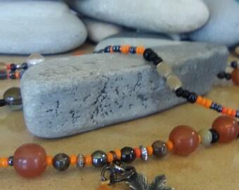 Extra long orange maple necklace