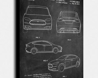 Tesla blueprint etsy tesla model s canvas print tesla model s patent vintage art blueprint malvernweather Choice Image