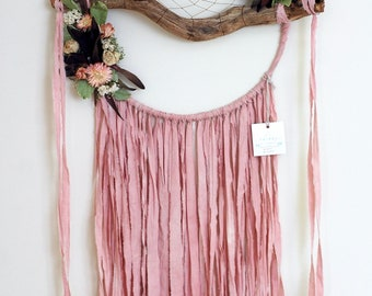 Pale Pink Branch Dreamcatcher with Dried Flowers