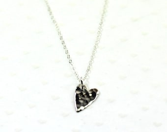 Heart Necklace, 925 Sterling Silver Hammered Minimalist Necklace w/ Sterling Silver Chain